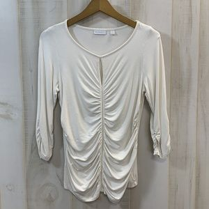 New York & Co. Cream Ruched Key Hole Top Medium